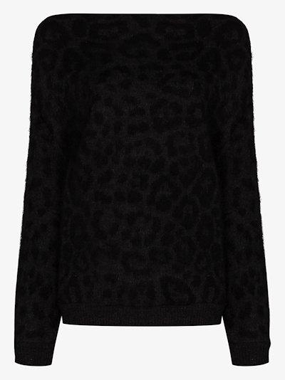 off-the-shoulder leopard print sweater