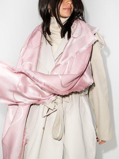 pink VLOGO jacquard scarf