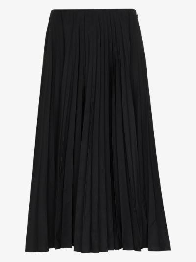 pleated high-waisted midi skirt