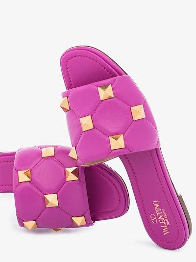 Purple Rockstud Leather Sandals