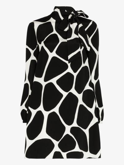 pussybow printed silk dress
