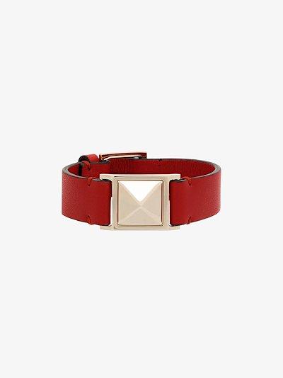 Red Large Rockstud Leather Bracelet