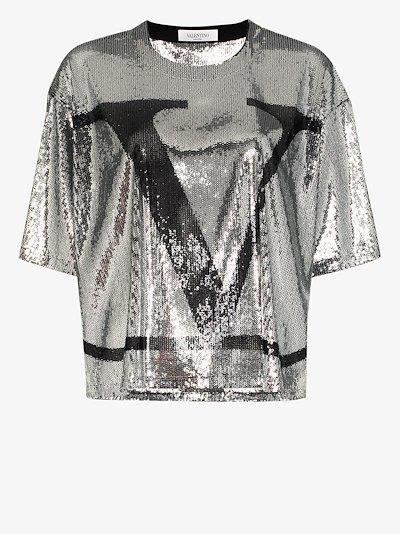 VLOGO sequin T-shirt