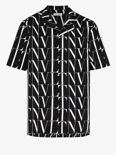 VLTN logo print cotton shirt