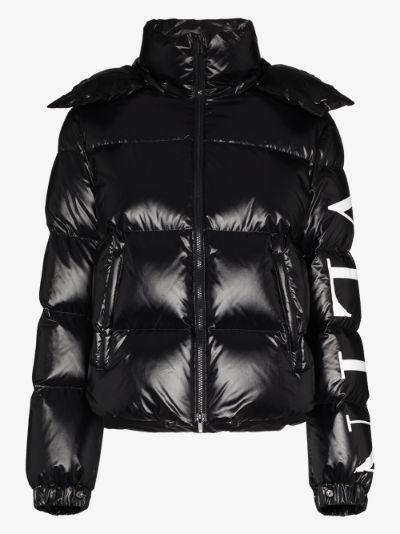 VLTN logo print puffer jacket