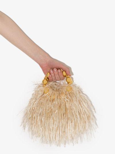 Beige Le Juliette feather clutch bag