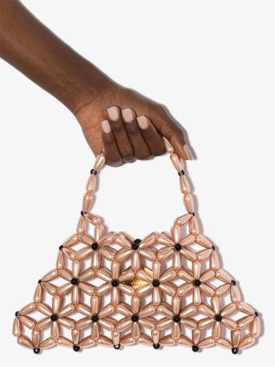 pink Daisy Baguette beaded clutch bag