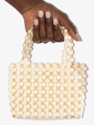 White Pearl Mist beaded tote bag