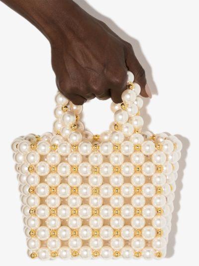 White Reveries beaded mini tote bag
