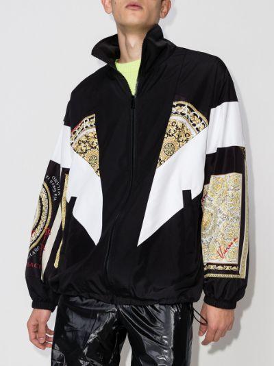 Baroque Mosaic panelled zip-up track jacket