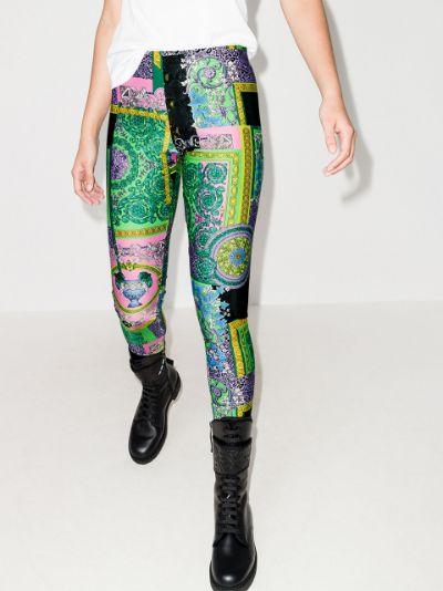 Baroque patchwork print leggings