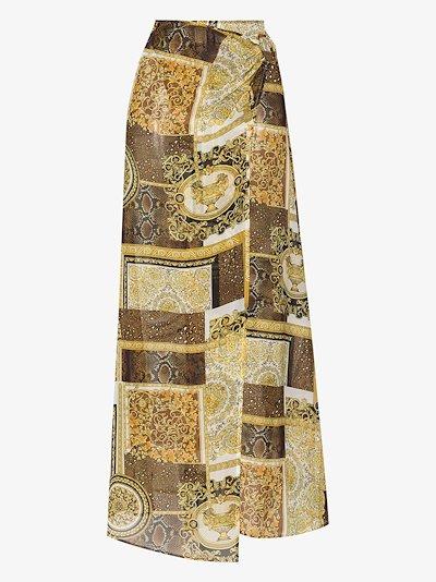 Baroque patchwork print midi skirt