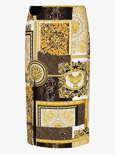 Baroque print midi skirt
