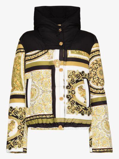 Baroque print puffer jacket
