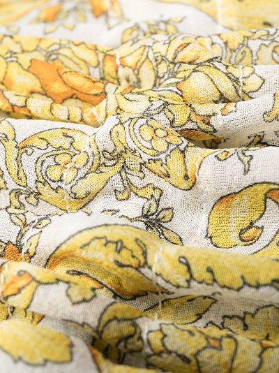 Baroque print silk midi dress