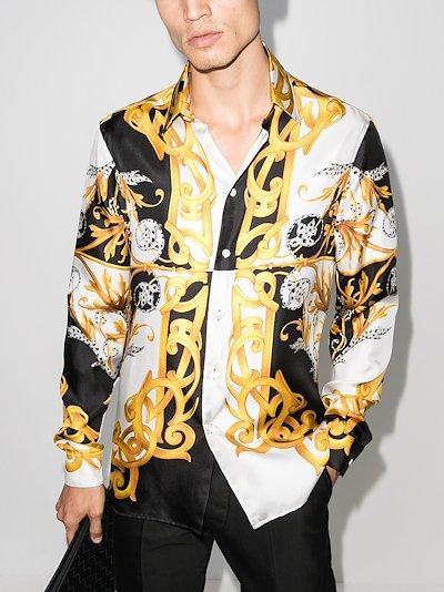 Baroque print silk shirt
