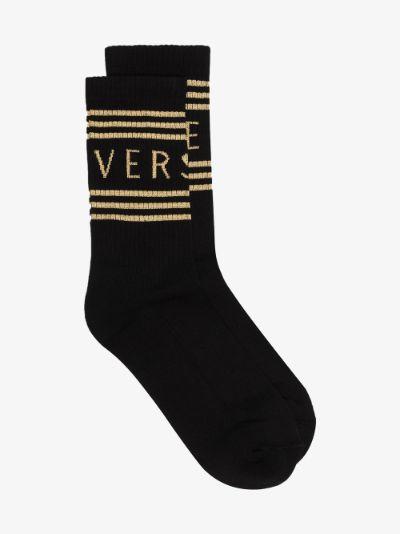 black '90s vintage logo socks