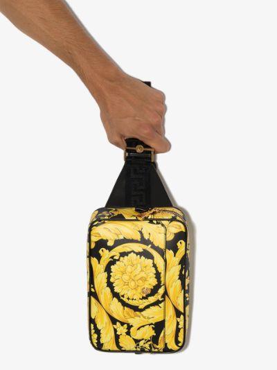 black and yellow Baroque print cross body bag