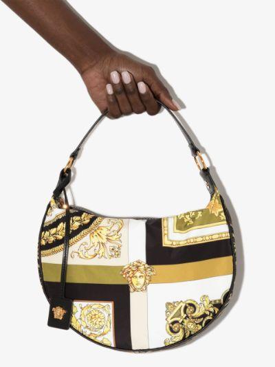 black Baroque print hobo shoulder bag