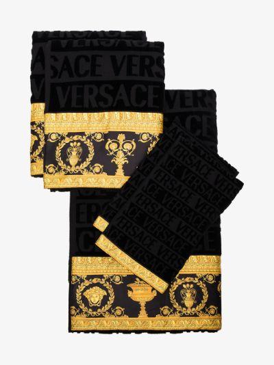 black Baroque towel set