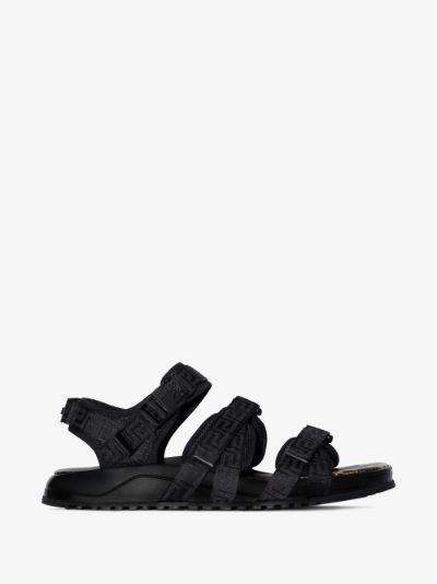 black Graecia python print leather sandals