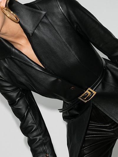 Black Greca buckle leather belt
