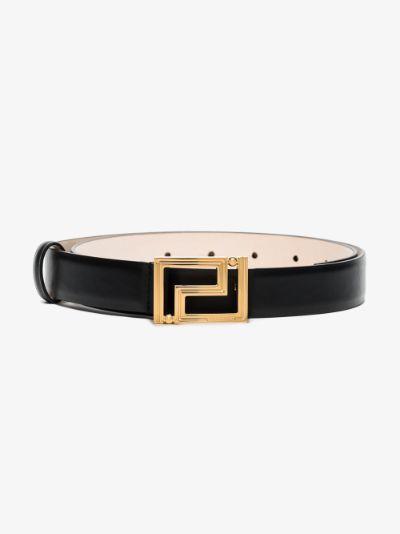 black Greca leather belt