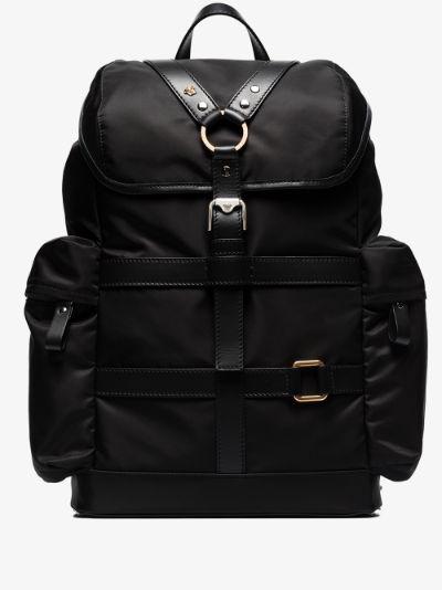 black harness strap backpack