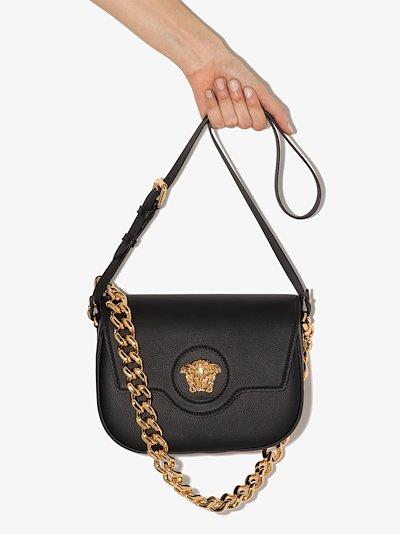 Black La Medusa Leather Shoulder Bag