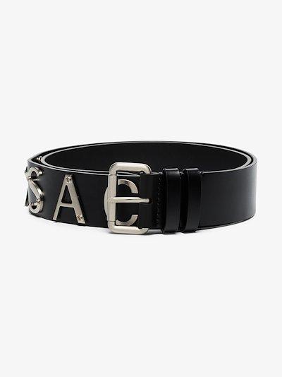 black logo print leather belt