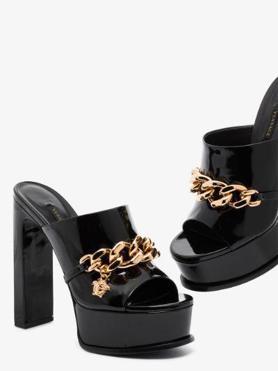 Black Medusa 145 Chain Patent Leather Platform Mules