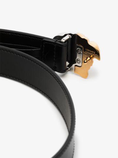 Black Medusa Buckle leather Belt
