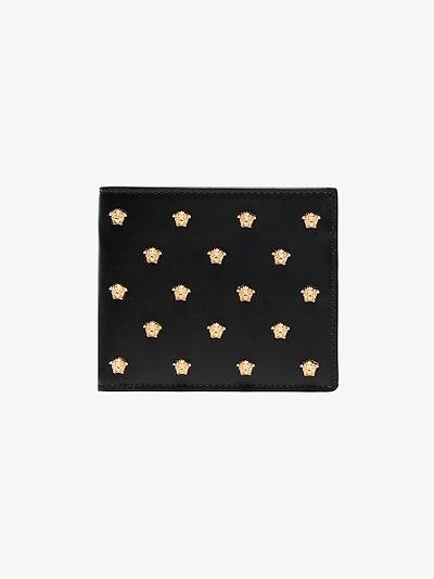 Black medusa leather mini wallet