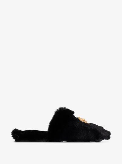 black Medusa logo slippers