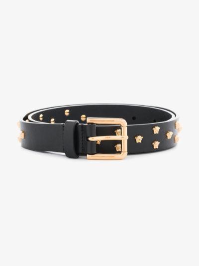 black Medusa stud leather belt