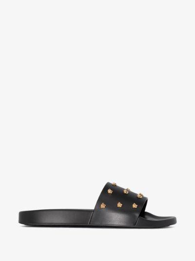 Black Medusa Studded Slides