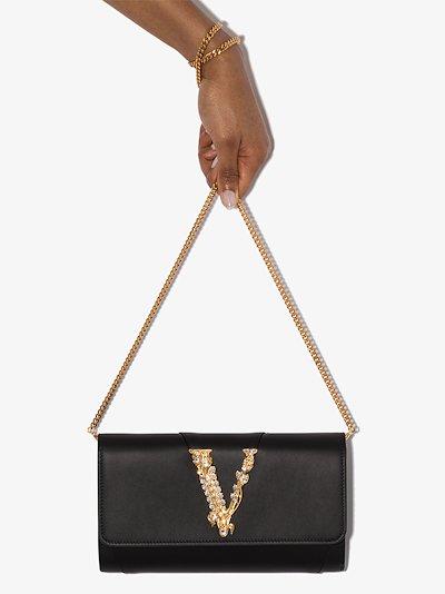 black Virtus crystal leather clutch bag