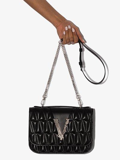 black Virtus leather cross body bag