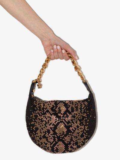 brown snake print crystal shoulder bag