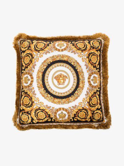 gold, black and white Crete de Fleur silk cushion