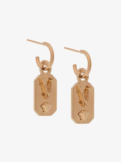 gold tone charm drop earrings