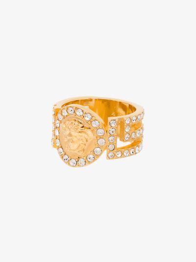 gold tone Medusa crystal ring