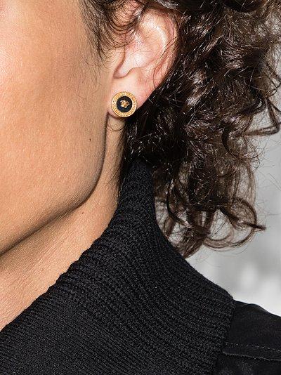 gold tone medusa earrings