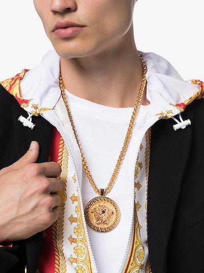 gold tone Medusa medallion necklace