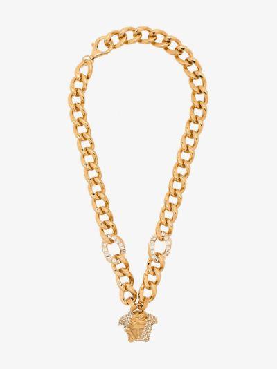 gold tone Medusa pavé crystal chain necklace