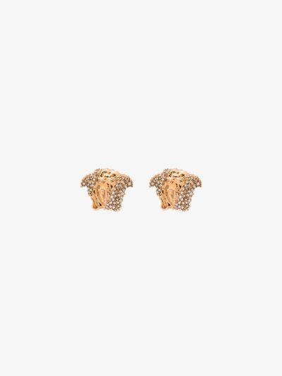 gold tone palazzo dia crystal stud earrings