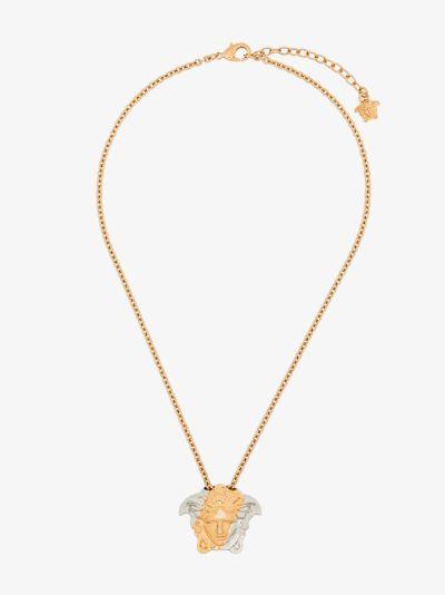 gold tone spliced Medusa pendant necklace