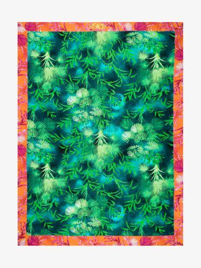 green Jungle print cotton beach towel