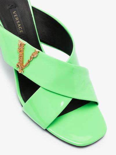 green Virtus 85 patent leather mules