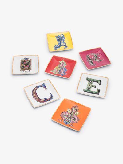 multicoloured alphabet porcelain plate set